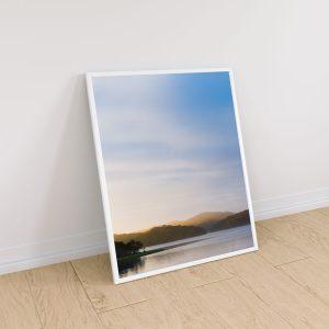 quadro paisagem por do sol nas montanhas