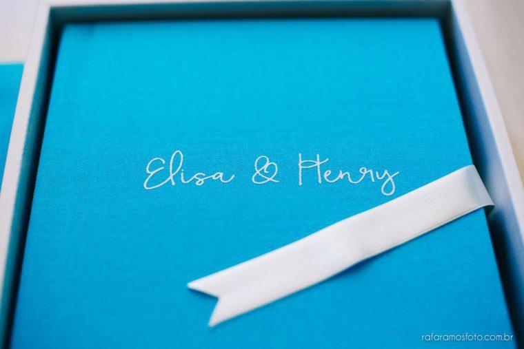 Álbum de casamento com capa em Linho Azul | Casamento Felix Bistrôt | Rafa Ramos Fotografia