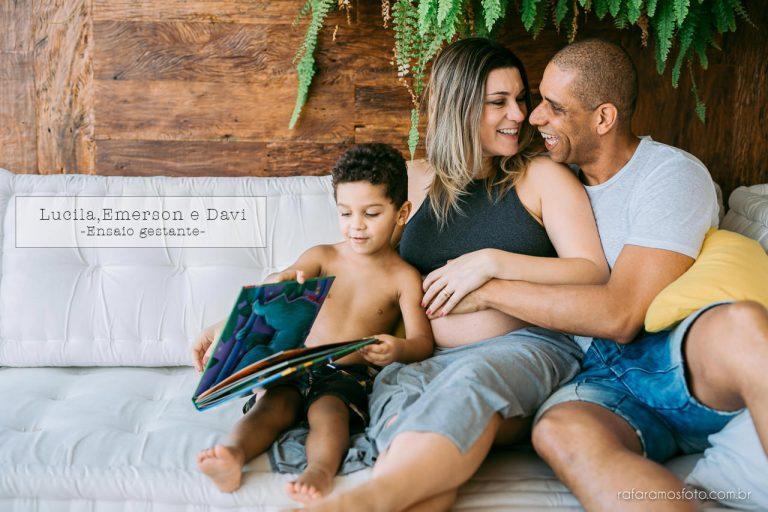 Lucila, Emerson e Davi | Ensaio Gestante em Casa
